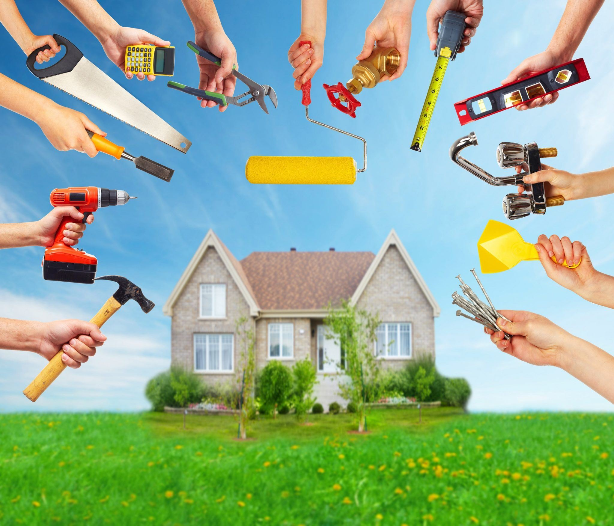 Home with tools around it for home maintenance services