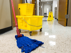Cleaning mop on the hallway showing janitorial and commercial cleaning services