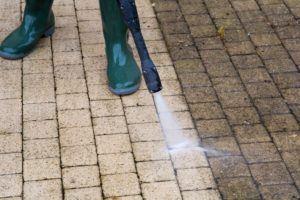 power washing concrete pathway